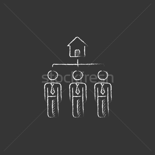 Three real estate agents. Drawn in chalk icon. Stock photo © RAStudio