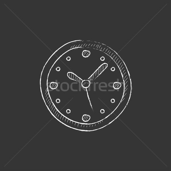 Fal óra rajzolt kréta ikon óramutató Stock fotó © RAStudio