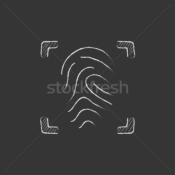 отпечатков пальцев мелом икона рисованной вектора Сток-фото © RAStudio