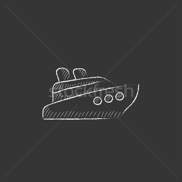 Navio de cruzeiro giz ícone vetor Foto stock © RAStudio