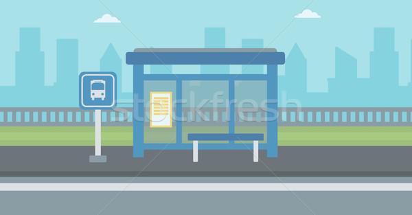 Otobüs durağı gökdelenler arkasında vektör dizayn örnek Stok fotoğraf © RAStudio