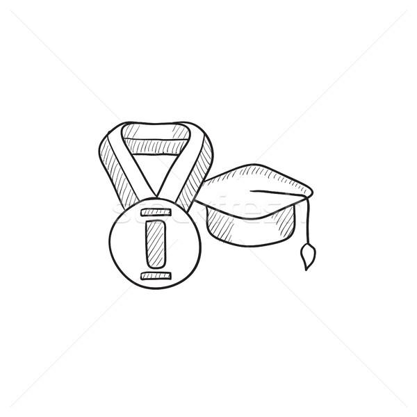 Graduation cap with medal sketch icon. Stock photo © RAStudio
