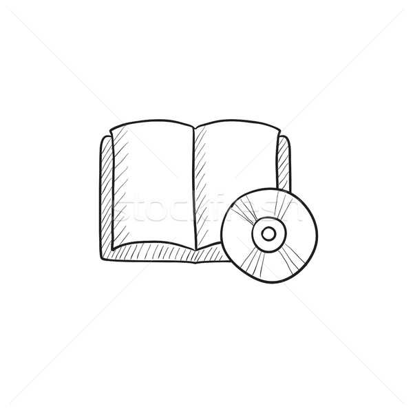 Audiobook and cd disc sketch icon. Stock photo © RAStudio