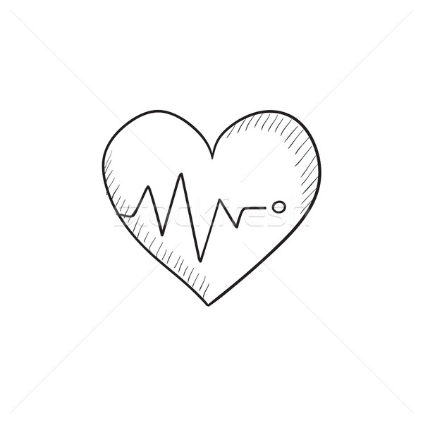 Heart with cardiogram sketch icon. Stock photo © RAStudio