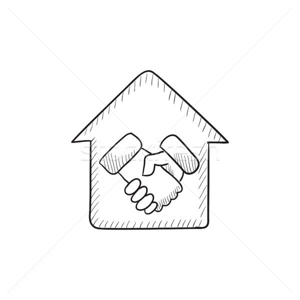 Handshake and house sketch icon. Stock photo © RAStudio