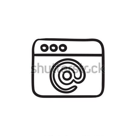 Browser venster e-mail teken schets icon Stockfoto © RAStudio