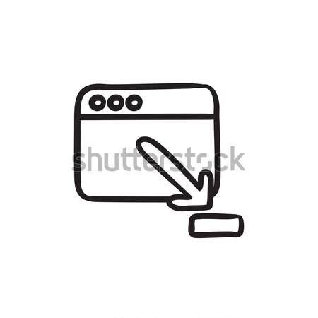 Navegador ventana descargar signo boceto icono Foto stock © RAStudio