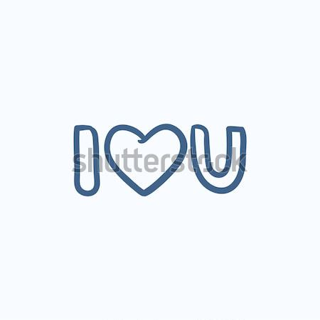 Abbreviation i love you sketch icon. Stock photo © RAStudio