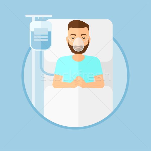 Paciente cama de hospital máscara de oxigênio homem barba Foto stock © RAStudio