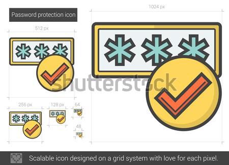 пароль защиту линия икона вектора изолированный Сток-фото © RAStudio