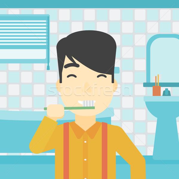 Man brushing teeth vector illustration. Stock photo © RAStudio