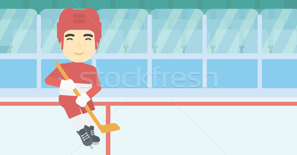 Ice hockey player with stick vector illustration. Stock photo © RAStudio