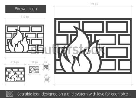 Güvenlik duvarı hat ikon vektör yalıtılmış beyaz Stok fotoğraf © RAStudio