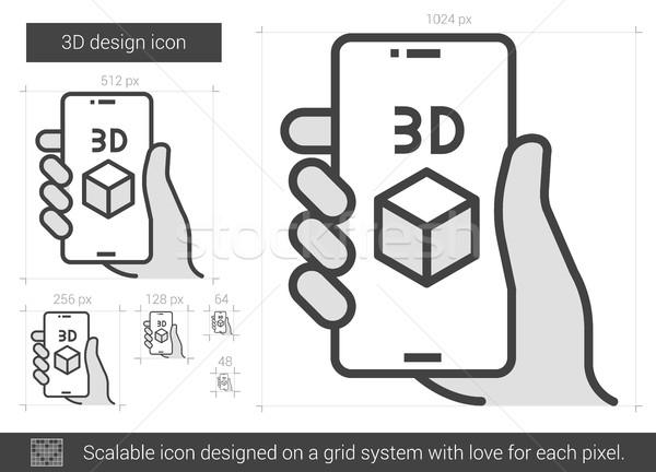 Drie ontwerp lijn icon vector geïsoleerd Stockfoto © RAStudio