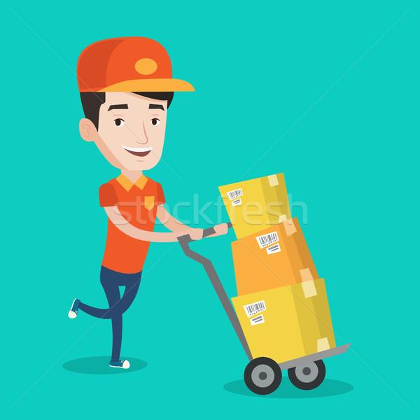 доставки почтальон картона коробки кавказский Сток-фото © RAStudio