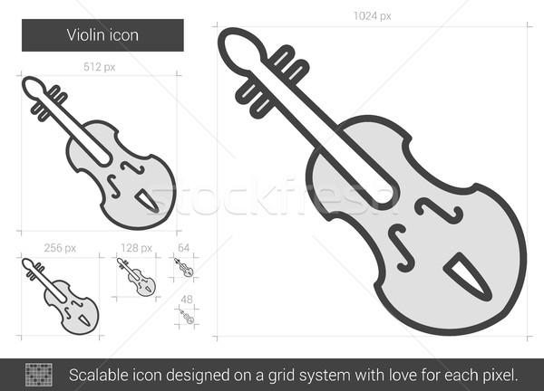 Hegedű vonal ikon vektor izolált fehér Stock fotó © RAStudio