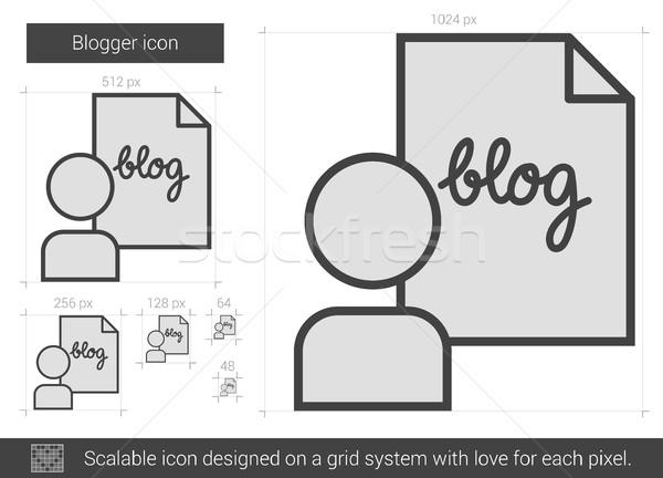 Blogger línea icono vector aislado blanco Foto stock © RAStudio