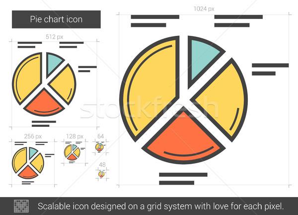 Cirkeldiagram lijn icon vector geïsoleerd witte Stockfoto © RAStudio
