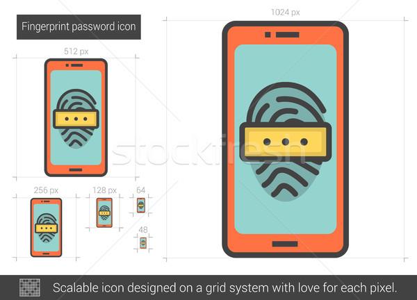 Vingerafdruk wachtwoord lijn icon vector geïsoleerd Stockfoto © RAStudio