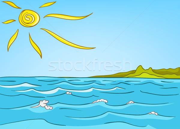 Desenho Animado Mar Paisagem Colorido Oceano Foto