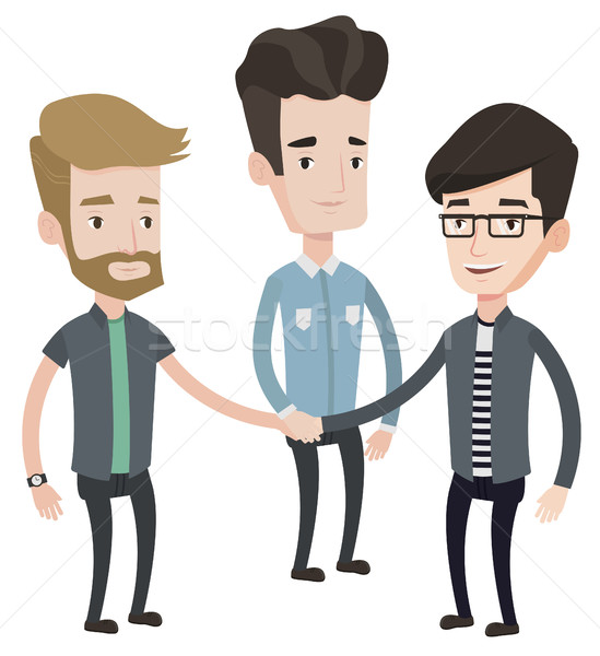 Stock photo: Group of businessmen joining hands.