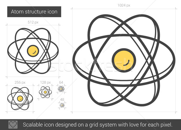Atom structure line icon. Stock photo © RAStudio
