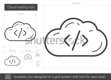 Cloud hosting linha ícone vetor isolado branco Foto stock © RAStudio