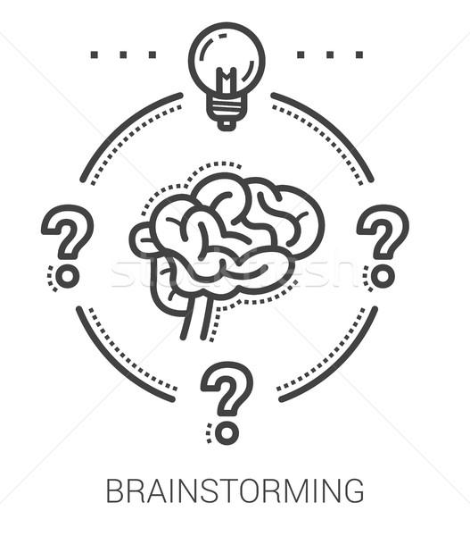 ötletelés vonal ikonok infografika metafora projekt Stock fotó © RAStudio