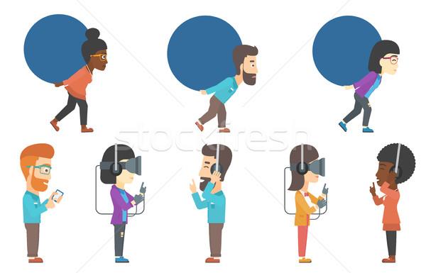Stockfoto: Vector · ingesteld · zakenlieden · mensen · hoofdtelefoon · jonge