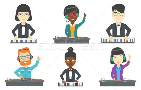 Vector ingesteld muzikanten jonge glimlachend Stockfoto © RAStudio