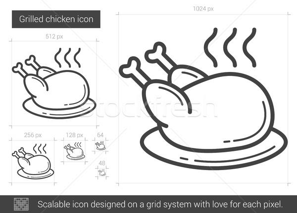 Gegrilde kip lijn icon vector geïsoleerd witte Stockfoto © RAStudio