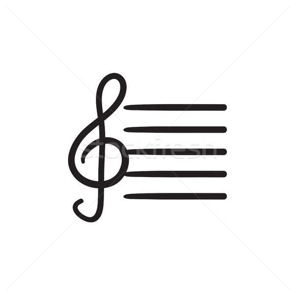 Treble clef sketch icon. Stock photo © RAStudio