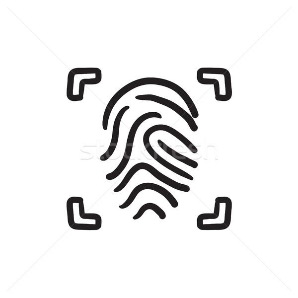 Ujjlenyomat rajz ikon vektor izolált kézzel rajzolt Stock fotó © RAStudio