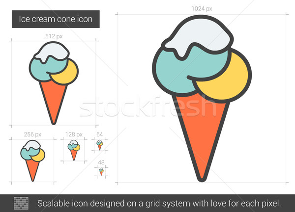 Cornet de crème glacée ligne icône vecteur isolé blanche Photo stock © RAStudio