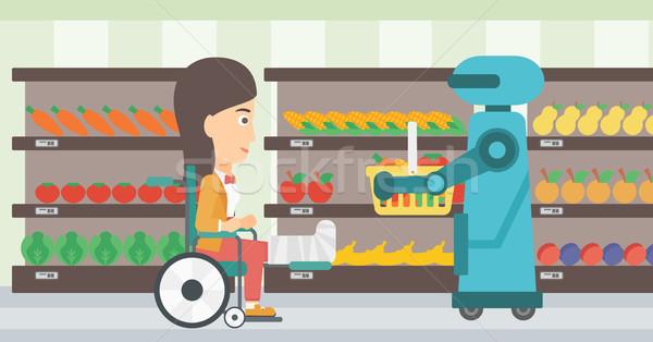 Robotic helper working in supermarket. Stock photo © RAStudio
