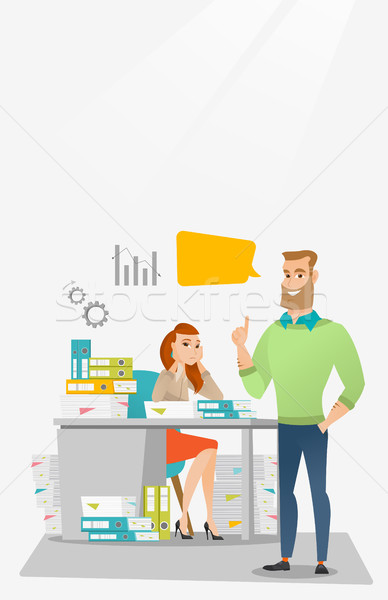 Feminino trabalhador de escritório empregador olhando feliz Foto stock © RAStudio