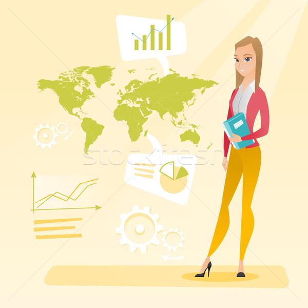 Mulher de negócios trabalhando global de negócios empresária em pé Foto stock © RAStudio
