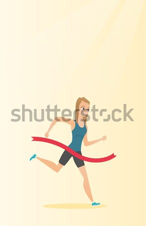 Athlete crossing finish line vector illustration. Stock photo © RAStudio