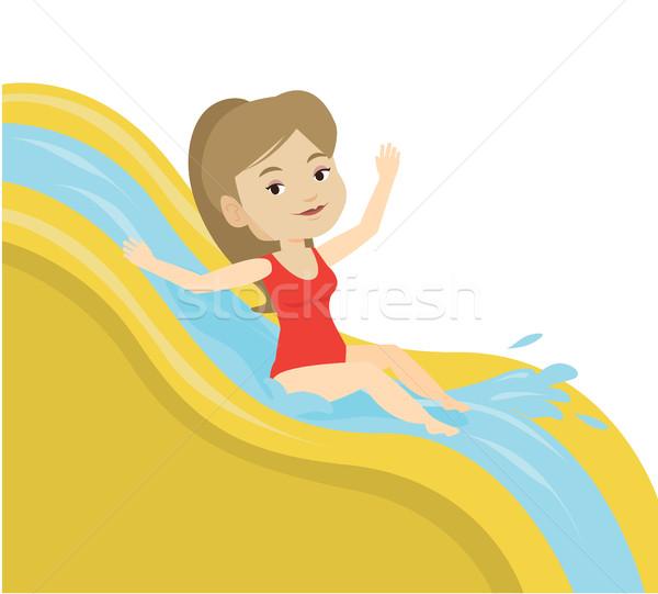 Woman riding down waterslide vector illustration. Stock photo © RAStudio