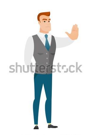 Kaukázusi üzletember mutat stop kézmozdulat üzletember Stock fotó © RAStudio