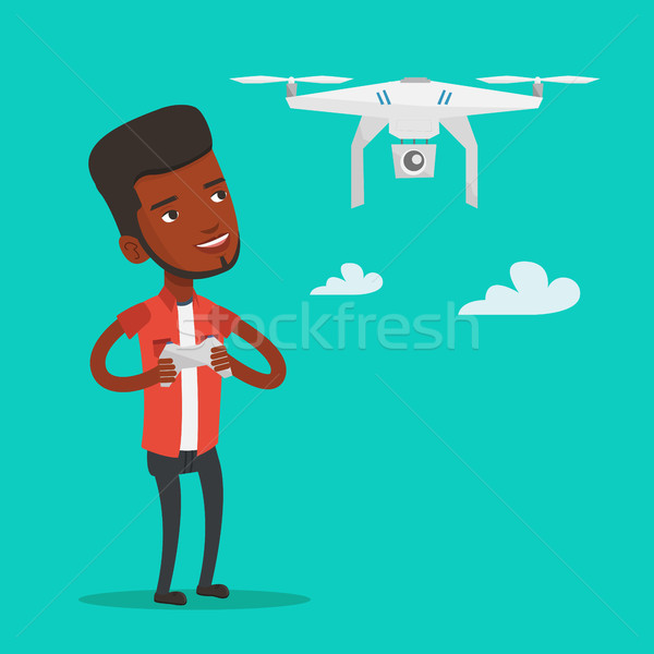 Man flying drone vector illustration. Stock photo © RAStudio