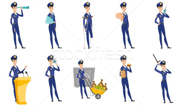 Vector set of police woman characters. Stock photo © RAStudio