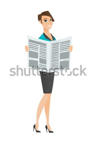 Stock photo: Lady drinking coffee and reading news in newspaper