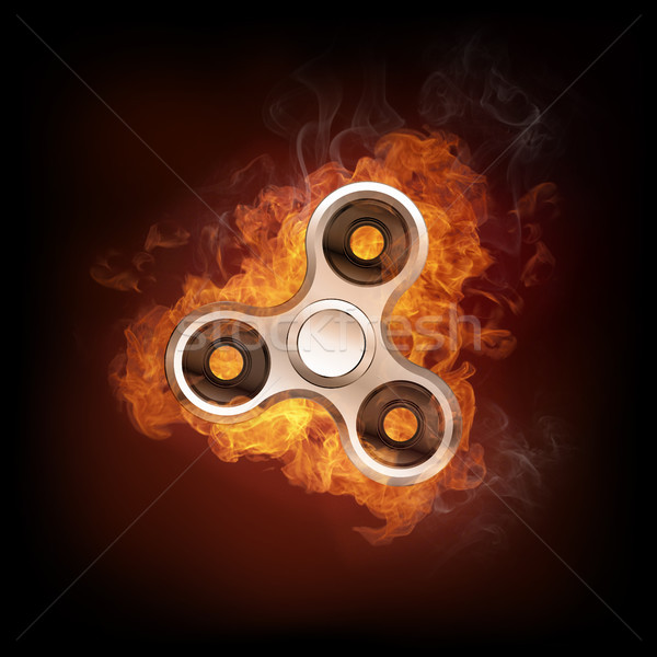 Fidget spinner in fire isolated on black background banner. Stock photo © RAStudio