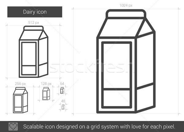 Foto stock: Lácteo · línea · icono · vector · aislado · blanco