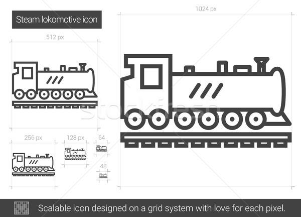 Stoomlocomotief lijn icon vector geïsoleerd witte Stockfoto © RAStudio