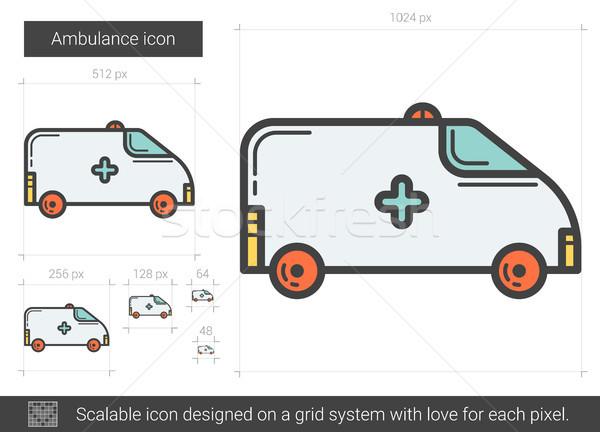 Foto stock: Ambulancia · línea · icono · vector · aislado · blanco