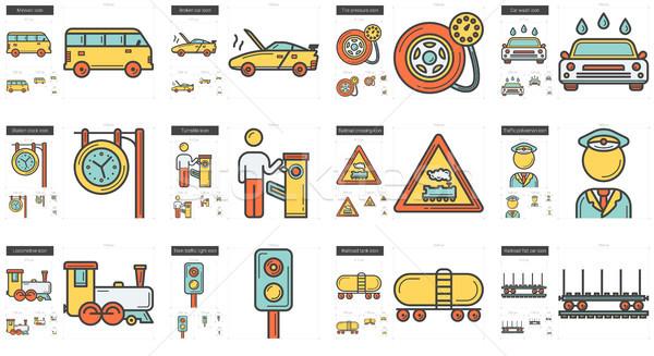 Transportation line icon set. Stock photo © RAStudio