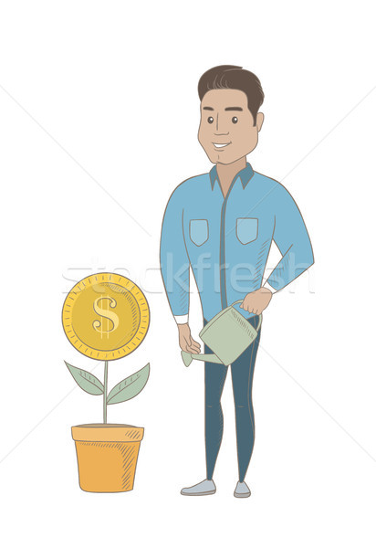 Young hispanic businessman watering money flower. Stock photo © RAStudio