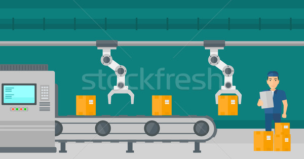 Robotic arm working on production line. Stock photo © RAStudio